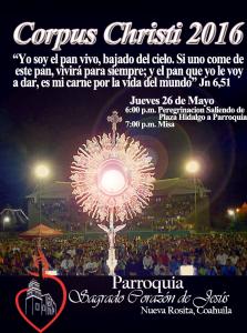 PARROQUIA SAGRADO CORAZÓN DE JESÚS INVITA A CORPUS CHRISTI