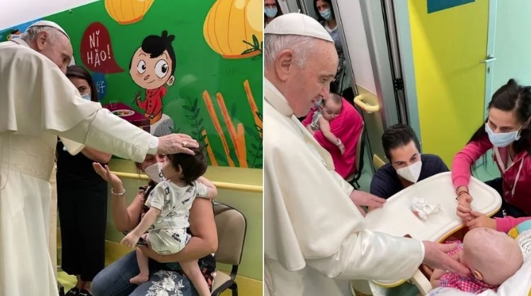 Papa visita a niños enfermos de cáncer en el Hospital Gemelli